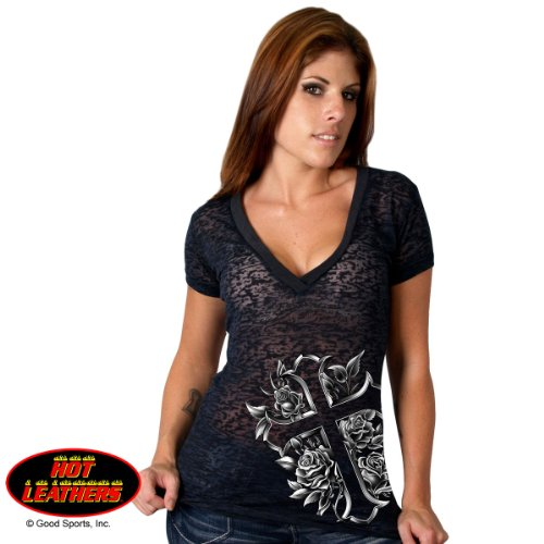 Cross & Roses V-Neck Semi-Sheer Foil Burnout Ladies Long Tee XLarge