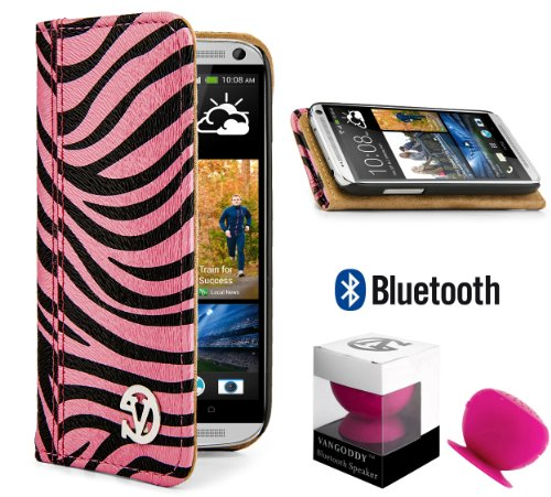 Mary Leather Wallet Case W/ Stand, Card Slots And Slide Pocket (Pink, Black Zebra) For Htc One M7 (32Gb/64Gb) + Pink Bluetooth Suction Speaker