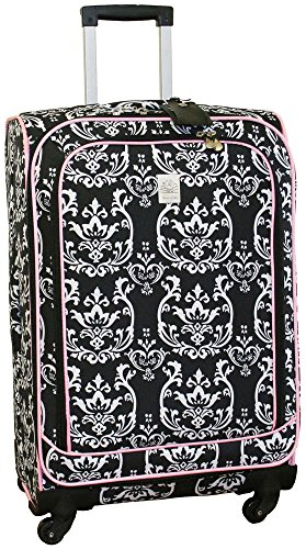 jenni-chan-damask-360-quattro-25-inch-upright-spinner-luggage-black-pink-one-size