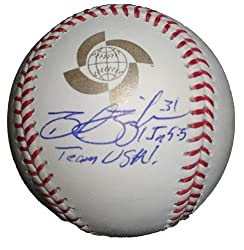 Brad Ziegler Autographed 2009 World Baseball Classic Game Ball, Team USA, Arizona Diamondbacks, Oakland Athletics, Proof Photo