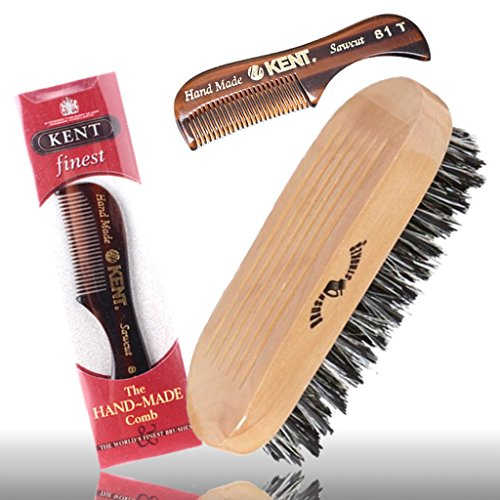 best beard brush and comb set for men includes premium kent 81t beard comb kit with military. Black Bedroom Furniture Sets. Home Design Ideas