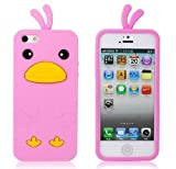 Pink 3D Cute Chicken Duck Animal Soft Silicon Rubber Gel Case Cover Skin iPhone 5C