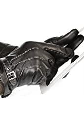 Vetelli Men's Black Leather Gloves with Touchscreen Technology