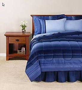 blue striped boys adult twin comforter set 6 piece bed in a bag teen boys. Black Bedroom Furniture Sets. Home Design Ideas