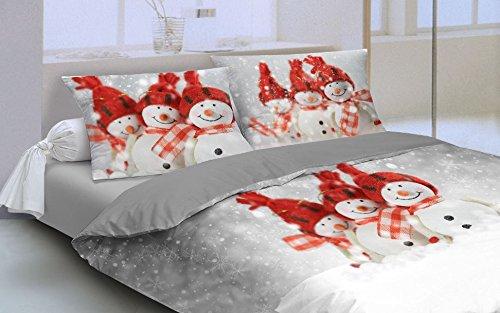 Copripiumino con federe Matrimoniale Pupazzi di Neve Patch Merry Christmas Nevicata di Natale - Percalle Finissimo - Prodotto Italiano