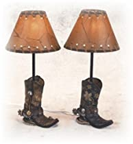 Big Sale Best Cheap Deals 14.5 Inch Brown Cowboy Boots Shaped Lamp Stencil Shade Set of 2