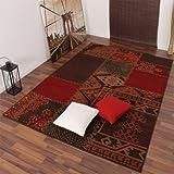 Moderner Designer Teppich Muster Rot Braun Patchwork, Grösse:160x220 cm