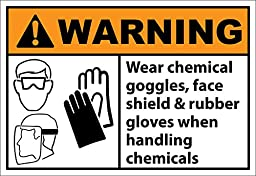 Wear Chemical Goggles Face Shield Warning OSHA / ANSI LABEL DECAL STICKER 20 inches x 28 inches