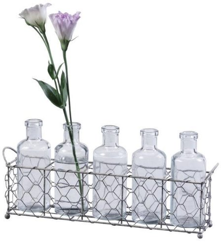 Shabby Cottage Chic Glass Bottles Vases With Wire Tray front-620927