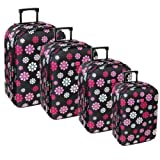 Karabar Super Lightweight Set of 4 Expandable Suitcases (Daisy Black)