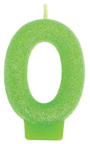 "Amscan Glamorous Glitter Birthday Number #0 Birthday Candle, Apple Green, 3"" - 1"