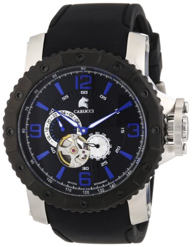 Carucci Watches Men's Automatic Watch Turin CA2198BK with Rubber Strap