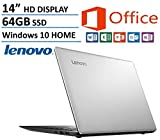 Lenovo Ideapad 14-inch High Performance Laptop (2016 New Edition), Intel Dual-Core Processor 2.16GHz, 2GB RAM, 64GB SSD, Webcam, HDMI, Windows 10 Home 64bit, Microsoft Office 365 1-year ($70 Value)