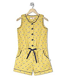 Budding Bees Girls Yellow & Blue Printed Jumpsuit