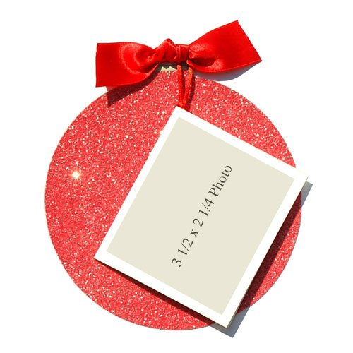 Red Glitter Christmas Ornament Die-Cut Card, Pack Of 10 front-948794