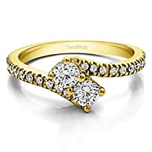 buy 0.99 Ct. Cz Together 4Ever: Two Stone Ring By Twobirch In 10K Yellow Gold (0.99 Ct. Twt.)