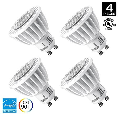Hyperikon MR16 GU10, LED 7W (50W equivalent), 400 lumen, 2700K (Warm White), CRI 90+, 120 Volt, 40° Beam Angle, Dimmable, UL-listed and ENERGY STAR Qualified - (Pack of 4) (Gu10 Led Lights compare prices)