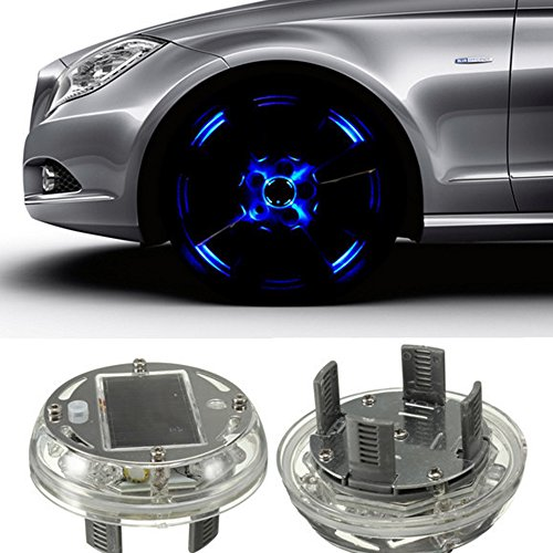 Car styling! 1 Piece Car Auto 4 Color Modes 12V LED Solar Tire Wheel Light Vehicle Decoration Warning Lamp(white)