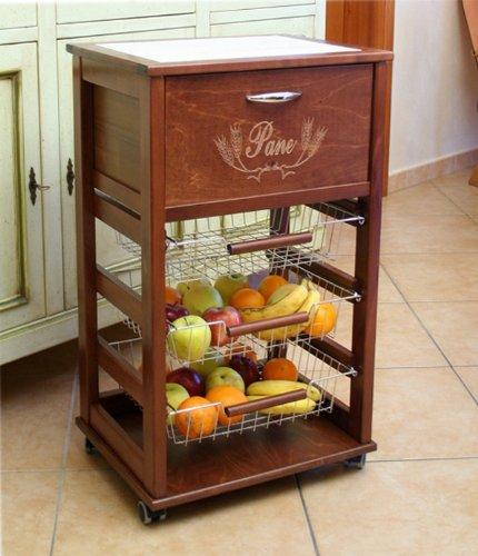 Légumes et Fruits avec étagères de rangement Boîte à pain en bois massif