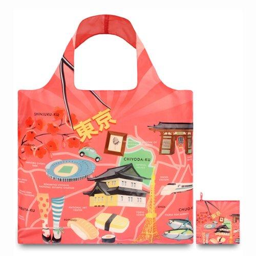 (ローキー)LOQI REUSABLE BAGS ポーチ付き ショッピングバッグ URBAN Tokyo (URBAN01-b)