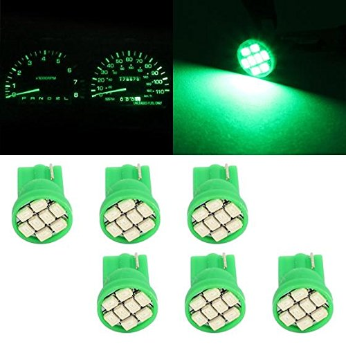 Partsam 6pcs Green LED Light Bulb T10 PC194 168 Lamp 8-SMD Instrument Panel Cluster Gauge Dashboard Lighting Indicators (1994 Chevy Truck Dashboard compare prices)