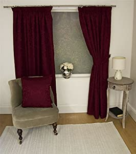 """Jacquard Floral Damask Wine Red 90x54"""" 229x137cm Lined Pencil Pleat Curtains Drapes by Curtains"""