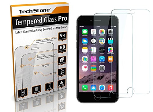 IPhone 6 Plus / 6s Plus Screen Protector Tempered Glass, TechStone Ballistic Tempered Glass,9H Hardness, Curved Edge,Bubble Free,Anti-Scratch,Fingerprint&Oil Stain Coating. (Pack of 2)