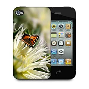 Snoogg Tiger Butterfly Designer Protective Phone Back Case Cover For Apple Iphone 4