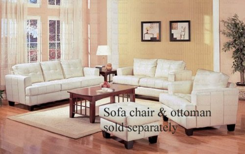 Buy Low Price Coaster 2pc Sofa & Loveseat Set with Wooden Legs Contemporary White Cream Leather (VF_Livset-501691-501692)