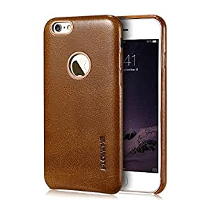 iphone 6s Plus Case, FLOVEME [ Logo Cut-outs ] Premium PU Leather Scratch Resistant Simple Case for iphone 6s Plus 5.5 inch,Brown