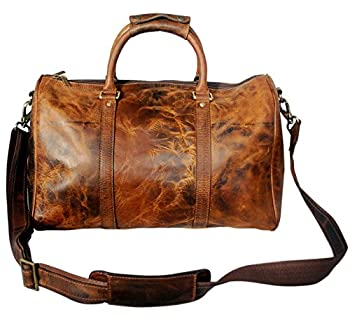 Genuine Leather Travel Duffel Bag For Mens