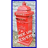 Large Royal Red Solid Cast Iron Pillar Postbox Mail Letter Boxby The Somerset Shop