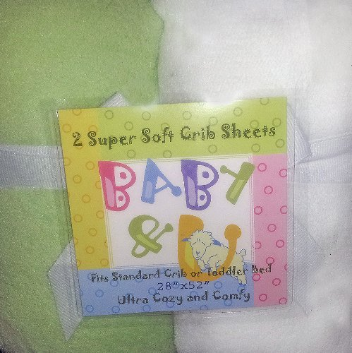 Baby & U Super Soft Crib Sheets Green and White 2 Pack
