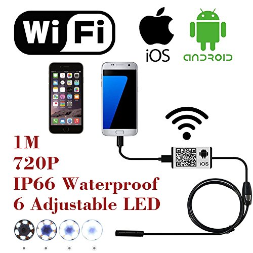 WiFi-Wireless-Digital-Endoscope-Borescope-Snake-Inspection-Camera-System-for-iphone-iOS-ipad-Samsung-Android-Smartphone-6-led-light9mm2-Megapixels720P-HD-IP66-Waterproof-by-AttoPro-1M