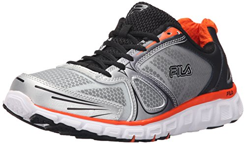 Fila Men's Memory Solidarity-M Running Shoe, Metallic Silver/Black/Red Orange, 11 M US