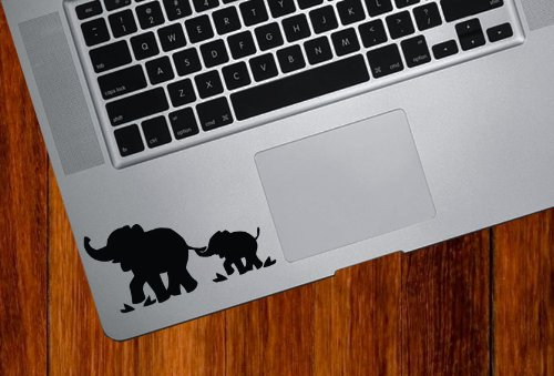 Fantastic Deal! Elephant Mom and Baby - DESIGN 1 - Trackpad / Keyboard - Vinyl Decal (Black)