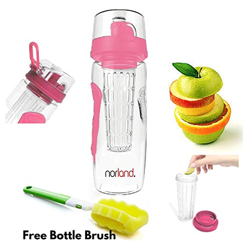 Infuser Water Bottle-by Norland - Large 32 oz. Fruit Infusion, Yoga,Sport and Detox Bottle (Pink) (Infuser Pitcher 1 Gallon compare prices)