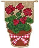 Summer Geranium Flower Pot Burlap House Flag