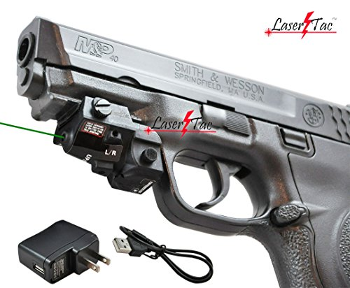 Lasertac GLX-SR Rechargeable Subcompact Green Laser Sight for Springfield XD XD-S XDM S&W M&P Beretta PX-4 Taurus Millenium Walther PPQ PPS PPX PK380 Ruger SR9C Sig Sauer