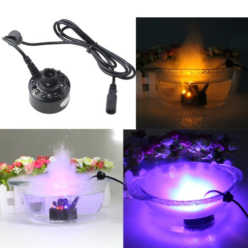 IMAGE 12 LED Mist Maker Fogger Water Fountain Pond Fog Machine Atomizer Air Purifier Humidifier
