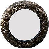 Divraya Wood Brass Plated Round Wall Mirror (30.48 Cm X 4 Cm X 30.48 Cm, Metallic, DA129)