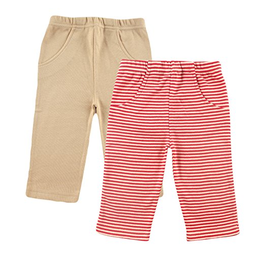 Hudson Baby Organic Striped Pants 2-Pack, Red, 0-3 Months