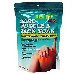 Relief MD Sore Muscle & Back Soak Eucalyptus Scented Epsom Salt - 16 Oz. 12 PACK