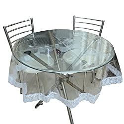 The Trendy Round Table Cover Transparent with wite lace
