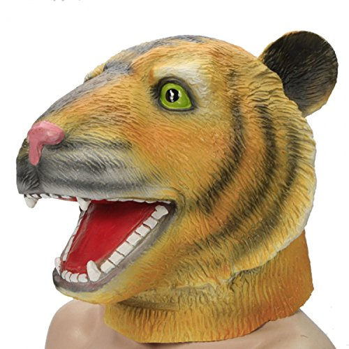 Funny Tiger Head Style Natural Latex Masquerade Halloween Cosplay Mask by Preciastore