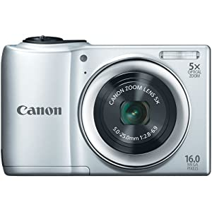 Canon PowerShot A810 16.0 MP Digital Camera with 5x Digital Image Stabilized Zoom 28mm Wide-Angle Lens with 720p HD Video Recording (Silver)