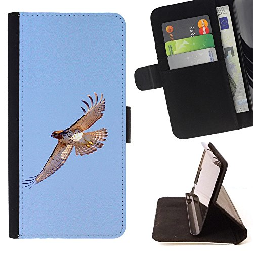 - hawk flight birds blue sky wings nature - - PU Premium Custodia portafoglio in pelle con fessure per carta, contanti staccabile cinturino da pol Funny HouseFOR Samsung Galaxy Note 3 III