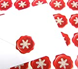 60 Christmas Wax Seal Stickers Red and White Snowflake for Cards