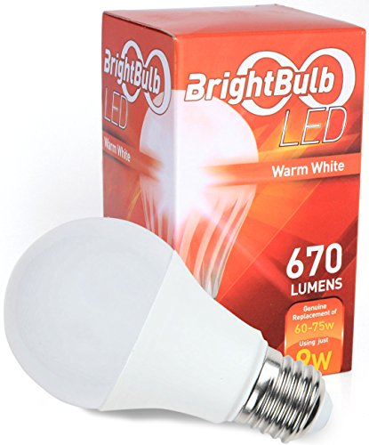 LED Light Bulb - 9W BrightBulb LED LightBulbs A19, High Efficiency, 10-Year Guarantee, Warm White (9W = 60-75W Traditional) - Single Bulb (Single Lightbulb compare prices)