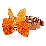 Adjustable Cat Dog Pet Bowknot Leather Collar-Orange